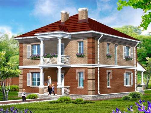 Общий вид проекта двухэтажного дома 158 кв.м