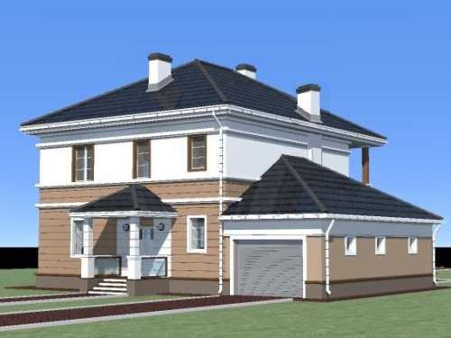 Общий вид проекта двухэтажного дома 181 кв.м