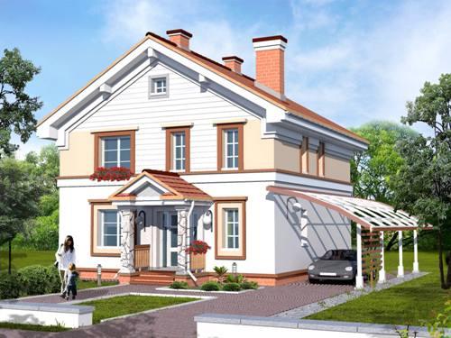 Общий вид проекта двухэтажного дома 147 кв.м