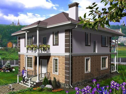 Общий вид проекта двухэтажного дома 151 кв.м