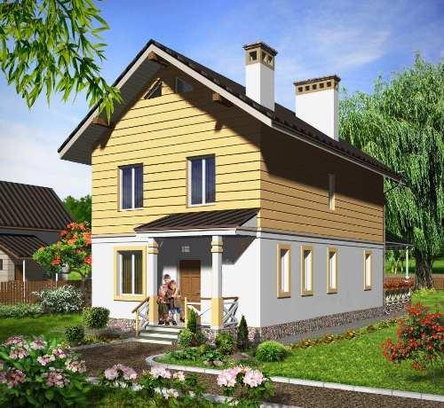 Общий вид проекта двухэтажного дома 120 кв.м