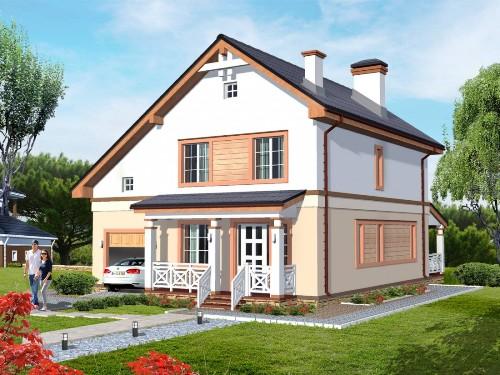 Общий вид проекта двухэтажного дома 155 кв.м