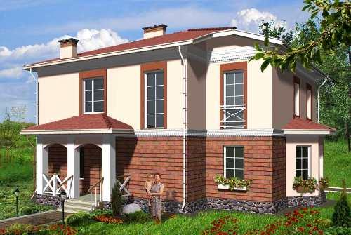 Общий вид проекта двухэтажного дома 182 кв.м