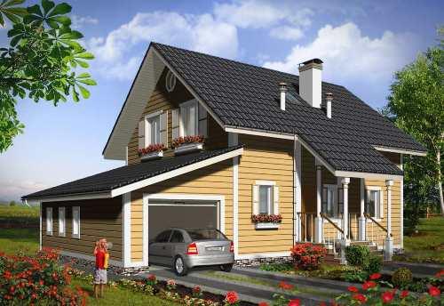 Общий вид проекта мансардного дома 171 кв.м