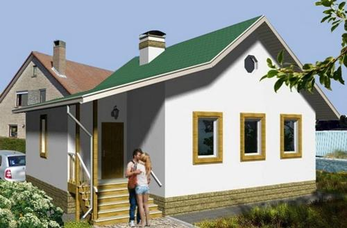 Общий вид проекта одноэтажного дома 69 кв.м