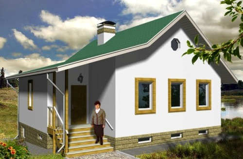 Общий вид проекта одноэтажного дома 135 кв.м