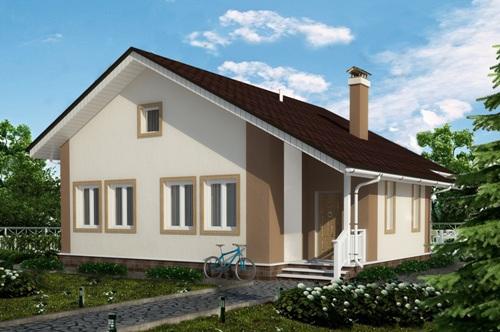 Общий вид проекта одноэтажного дома 82 кв.м