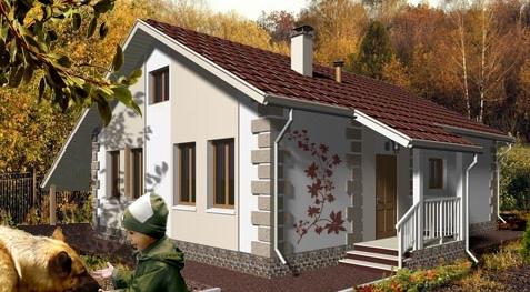 Общий вид проекта дома с мансардой 130 кв.м
