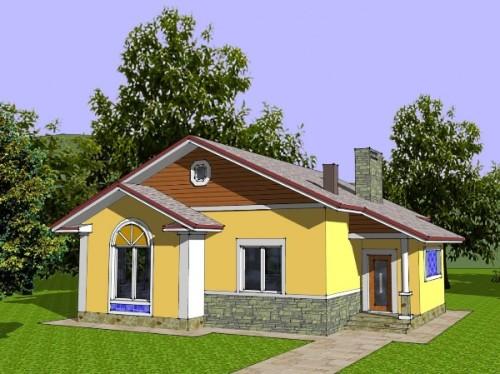 Общий вид проекта одноэтажного дома 98 кв.м
