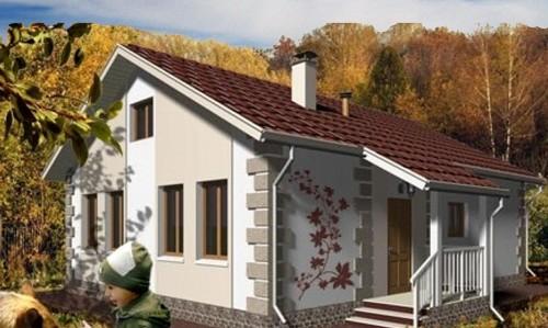 Общий вид проекта одноэтажного дома 74 кв.м