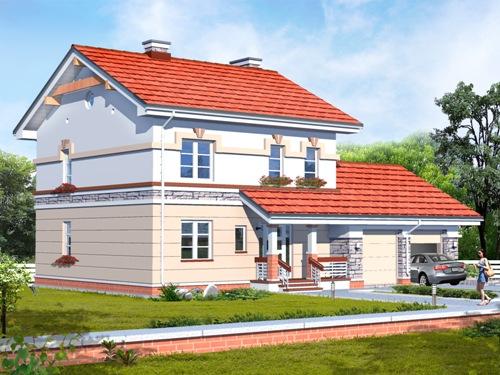 Общий вид проекта двухэтажного дома 190 кв.м