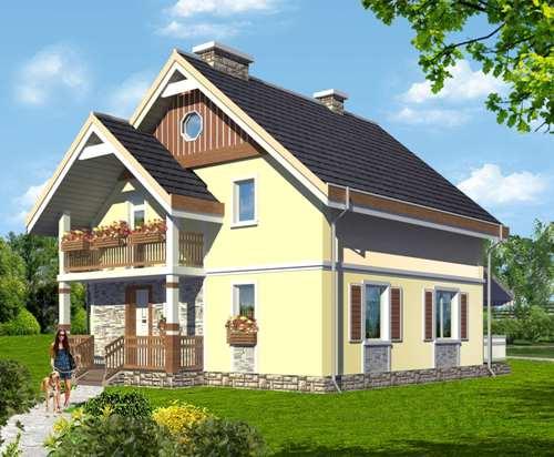 Общий вид проекта мансардного дома 142 кв.м