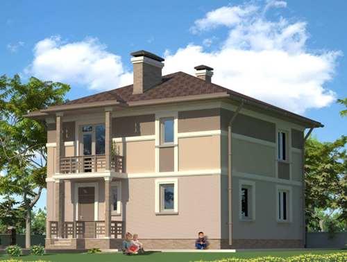 Общий вид проекта двухэтажного дома 142 кв.м