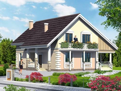 Общий вид проекта мансардного дома 152 кв.м