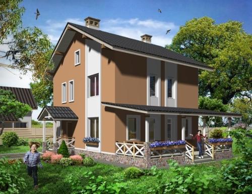 Общий вид проекта двухэтажного дома 113 кв.м