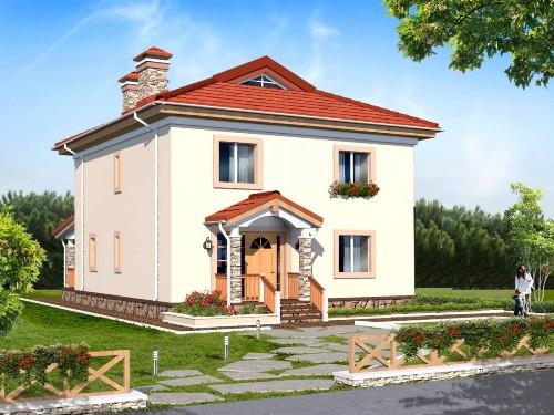 Общий вид проекта двухэтажного дома 169 кв.м
