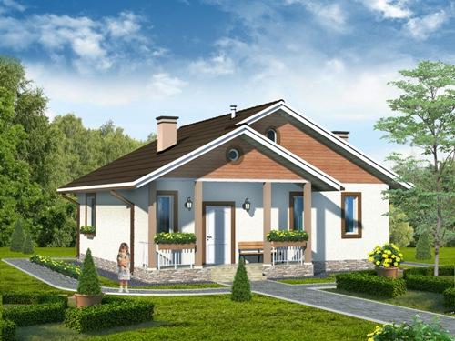 Общий вид проекта одноэтажного дома 75 кв.м