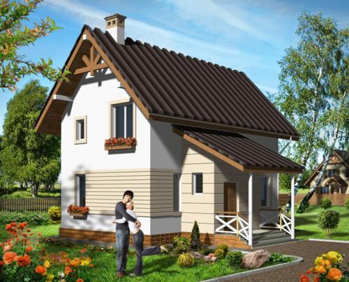 Общий вид проекта мансардного дома 88 кв.м