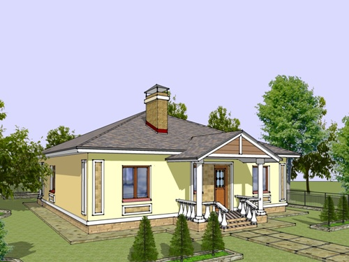 Общий вид проекта одноэтажного дома 122 кв.м