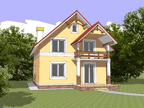 Общий вид проекта мансардного дома 134 кв.м