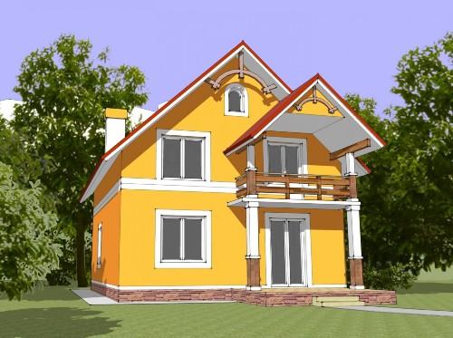 Общий вид проекта мансардного дома 135 кв.м