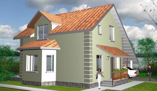 Общий вид проекта дома с мансардой 117 кв.м