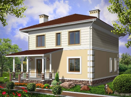 Общий вид проекта двухэтажного дома 135 кв.м