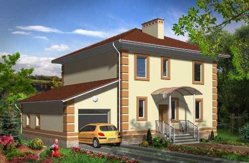 Общий вид проекта двухэтажного дома 163 кв.м
