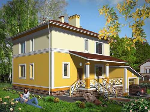 Общий вид проекта двухэтажного дома 167 кв.м