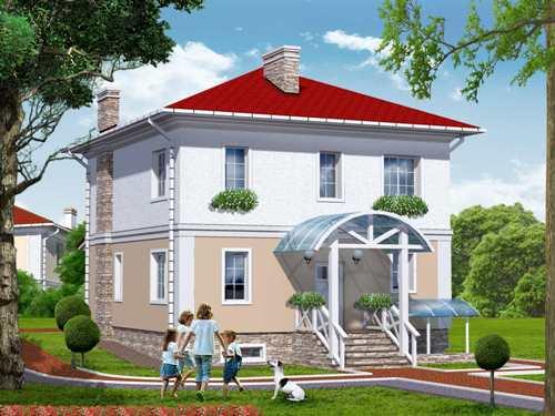 Общий вид проекта двухэтажного дома 205 кв.м