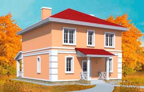 Общий вид проекта двухэтажного дома 153 кв.м