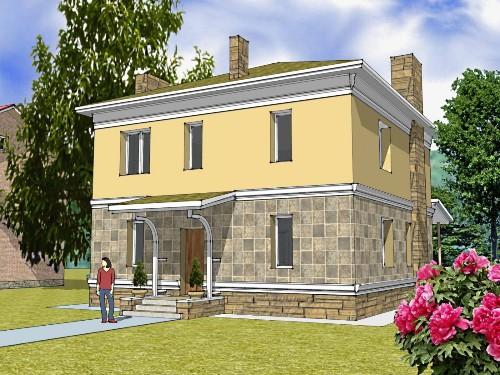 Общий вид проекта двухэтажного дома 133 кв.м