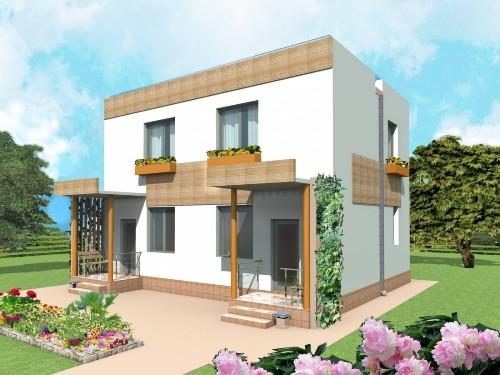 Общий вид проекта двухэтажного дома 103 кв.м