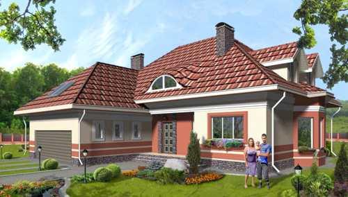 Общий вид проекта мансардного дома 441 кв.м