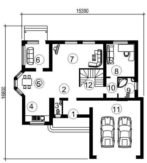 План первого этажа проекта мансардного дома 441 кв.м