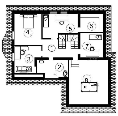 План второго этажа проекта мансардного дома 441 кв.м