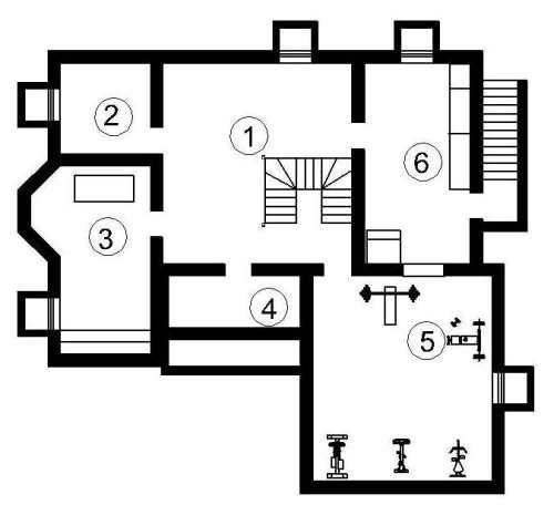 План подвала проекта мансардного дома 441 кв.м
