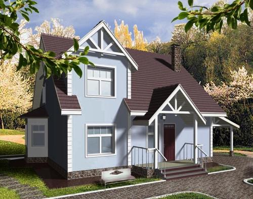 Общий вид проекта дома с мансардой 129 кв.м