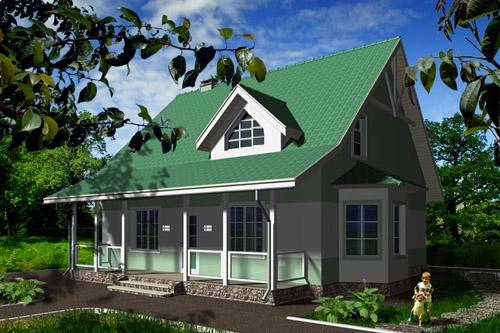Общий вид проекта дома с мансардой 135 кв.м