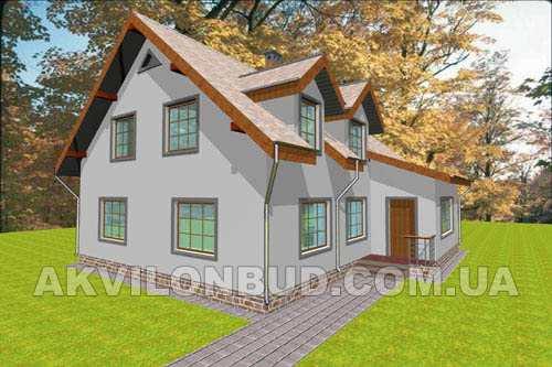 Общий вид проекта мансардного дома 205 кв.м