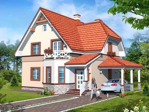 Общий вид проекта мансардного дома 130 кв.м