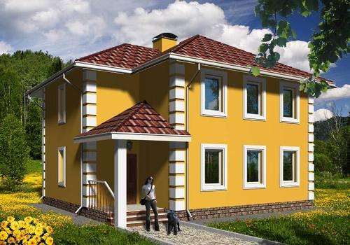 Общий вид проекта двухэтажного дома 126 кв.м