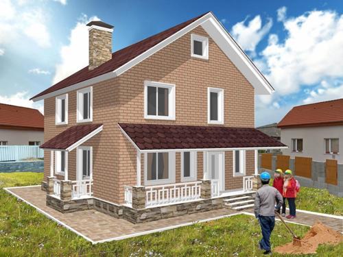 Общий вид проекта двухэтажного дома 145 кв.м