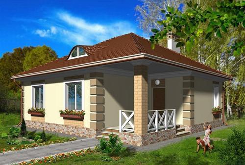 Общий вид проекта одноэтажного дома 68 кв.м