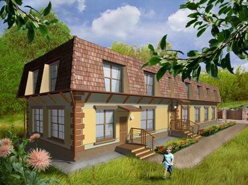 Общий вид проекта большого двухэтажного дома