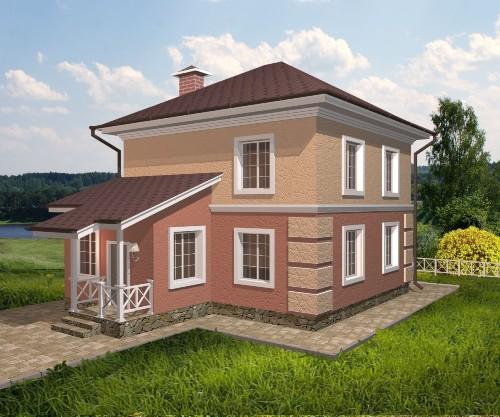 Общий вид проекта двухэтажногодома 120 кв.м