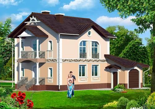 Общий вид проекта двухэтажного дома 140 кв.м
