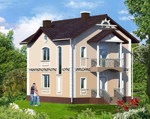 Общий вид проекта двухэтажного 110 кв.м