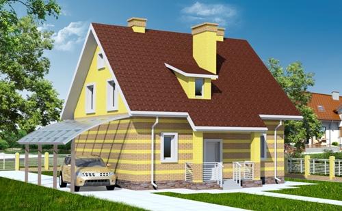Общий вид проекта  мансардного дома 133 кв.м