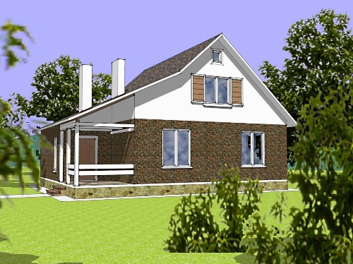 Общий вид проекта дома с мансардой 126 кв.м
